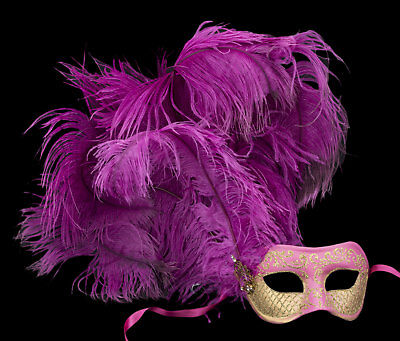 Mask from Venice Colombine IN Feathers Ostrich Pink Golden Paper Mache 22428
