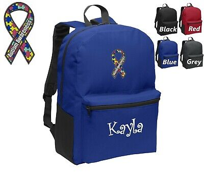 Personalized Kids Backpack Embroidered Autism Awareness Ribbon Monogrammed