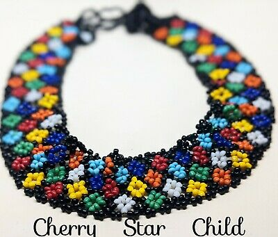 60s -70s Jewelry – Necklaces, Earrings, Rings, Bracelets Vintage 1960's 70's hand beaded 'hippy'  wide collar necklace baby headband $23.75 AT vintagedancer.com