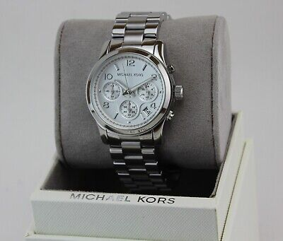 NEW AUTHENTIC MICHAEL KORS RUNWAY CHRONOGRAPH SILVER WOMEN'S MK5076 WATCH