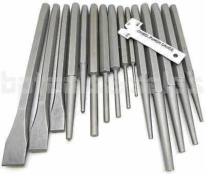 - 16pc Mechanics Punch and Chisel Set Industrial Pin Tapered Center Chisel Punch