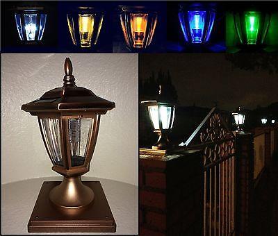 Solar Light Copper Color Post Cap LED 4x4 /5x5 / 6x6 Or Wall Mount Hexagon 2 Pk ()