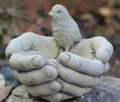 Outdoor Garden Ornament Bird on Hands Basin Bath Bird Feeder Decorative birdbath