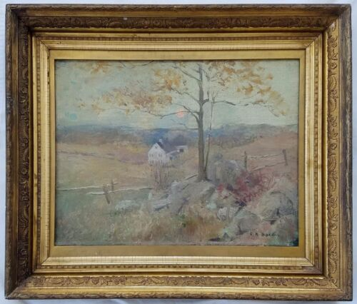 Original Charles Roswell Bacon (ny 1868-1913) O/c Landscape W/ Farmhouse