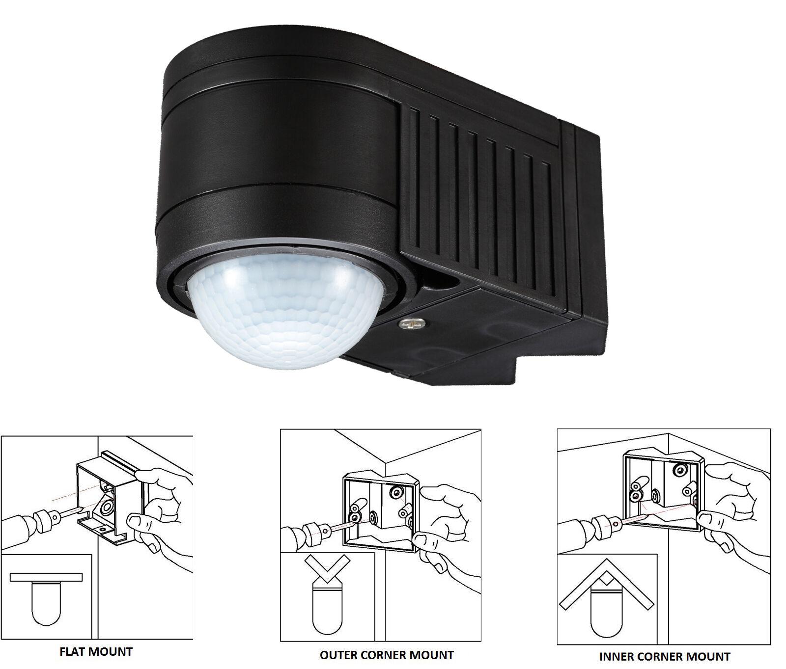 black pir 360 motion sensor detector outdoor new ip44. Black Bedroom Furniture Sets. Home Design Ideas