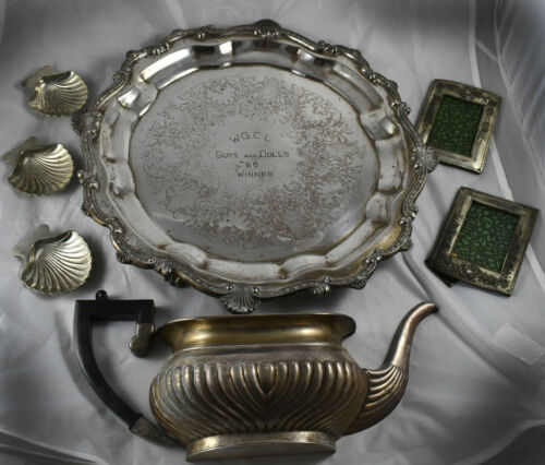 Vintage Silver Plate Lot -Footed Platter, Planter, Frames, Salt Dishes