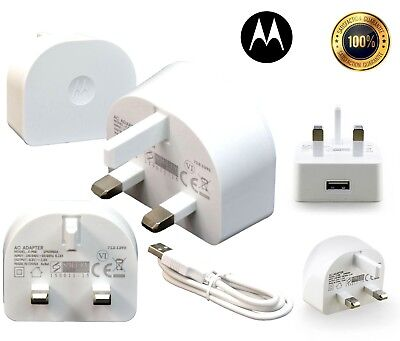 Genuine Motorola SPN5950A Mains Charger Adapter Plug & Micro Data Cable White