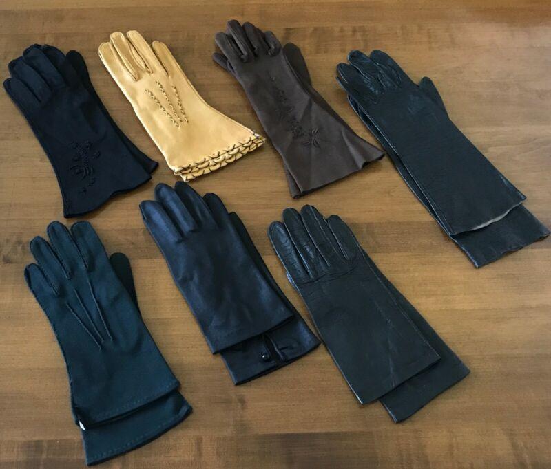 Vintage Ladies Gloves Lot Of 7 Paris, Dawnelle Cotton, Leather, Deerskin More