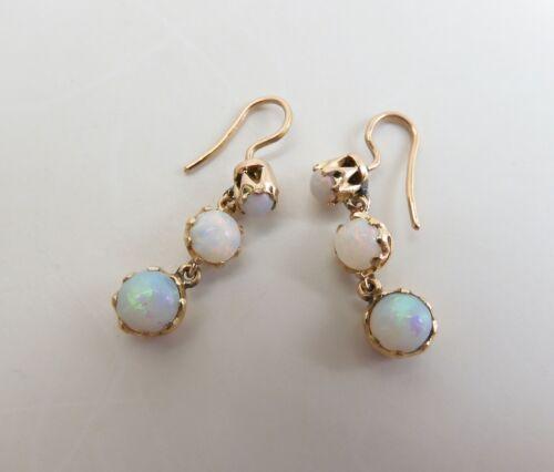 Antique Edwardian Graduated Crystal Opal Dangle Earrings