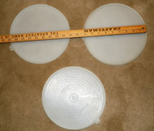 """Tupperware 2 #230 8.5"""" Replacement Lids With Z Tab+ 1  2197C 8.75"""" Lid--3 Total"""