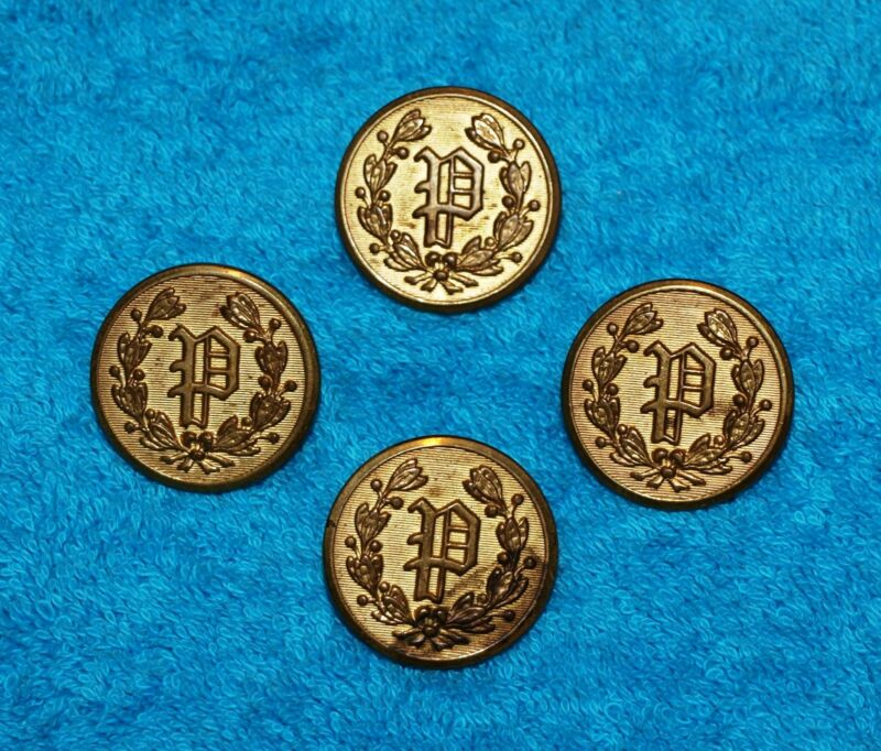 VINTAGE BRASS BUTTONS…SUPERIOR QUALITY…BRASS POLICE BUTTONS…1950 ERA...LOT OF 4