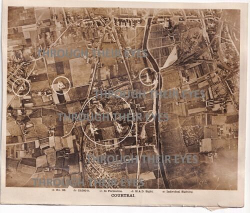 Original WW1 RAF bombing Aerial photo Courtrai Kortrijk  Belgium 1918 103 SQD