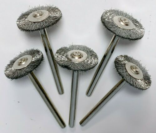 """5 PIECE LOT OF NEW #428 DREMEL 3/4"""" CARBON STEEL WIRE BRUSHES 1/8"""" SHANK BRUSH"""
