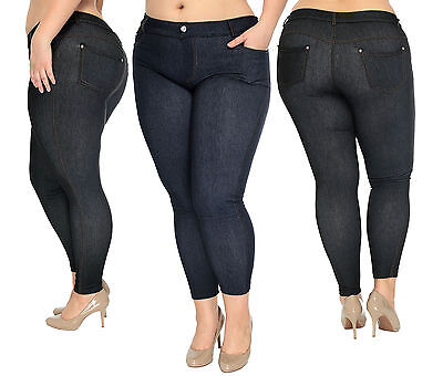 New Plus Women's Skinny Jean Leggings Stretch Jeggings Pants Denie ...