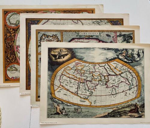 Vintage Decorative 4 Old World Maps Set 1959 Penn Prints New York