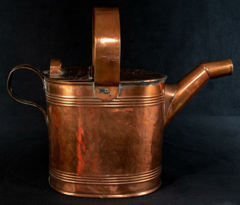 Antique R Perry Son and Co Copper Hammered Water Can