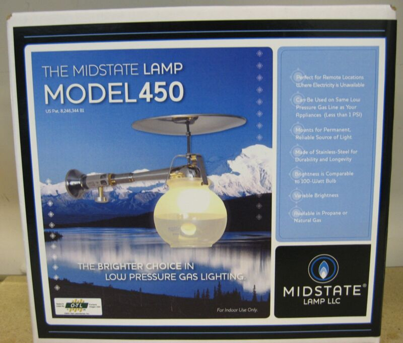 Propane Gas Lamp Model 450    Brightest indoor gas light   Made in the USA