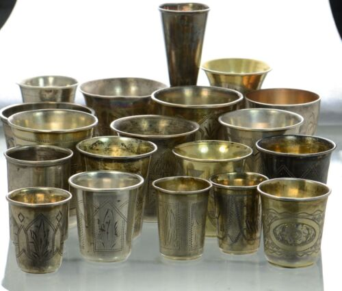 Lot Of 19 Antique Russian 84 Silver Cups