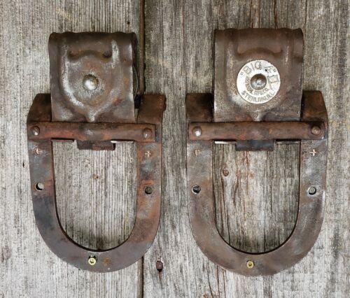 Antique Pair Barn Garage Door Rollers Big 4  Horseshoe Sliders. Sterling, Ill.