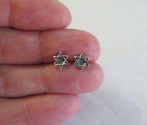 Sterling Silver 8mm antiqued Star of David post stud earrings.