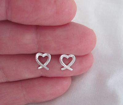 Sterling Silver 9mm ribbon hearts post stud (Sterling Silver Ribbon Earrings)