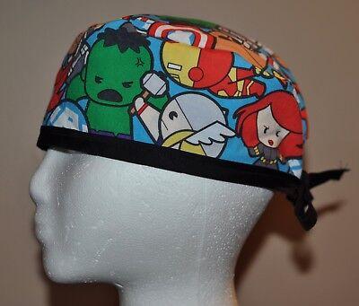 Men's Marvel Kawaii Superhero/Avengers Blue Scrub Cap/Hat - One size fits most Blue Scrub Cap