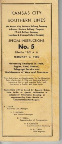 1969 Kansas City Southern Line Special Instructions #5