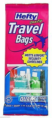 K16 HEFTY ONE ZIP TRAVEL BAGS QUART SIZE 7 COUNT  PER PACK BAG ZIPLOCK