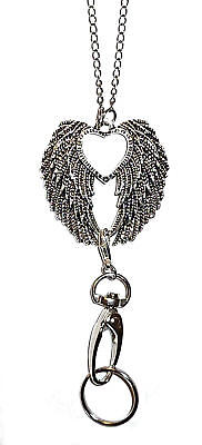 Trendy Women's Fashion Lanyard and Necklace, ID Badge Holder (Angel Wings)