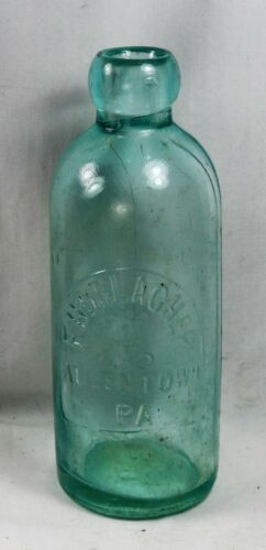 "Antique 'F. HORLACHER' Hutch soda bottle ALLENTOWN, PA. with arched ""tombstone"""