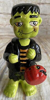 Ceramic Frankenstein W/Pumpkin Bucket Halloween Bobble Head Figure Decor