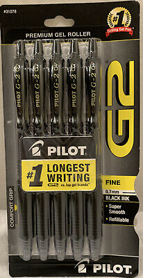 Pilot G-2 Rollerball Pen - Black - Gel Ink - 0.7 Mm Fine - Retractable - 5 Pack