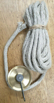 STYLISH SOLID BRASS PULLEY & ROPE KIT LONGCASE/GRANDFATHER CLOCKS & MORE!