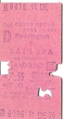 B.R.B. Edmondson Multiprinter Ticket - Paddington to Bath Spa
