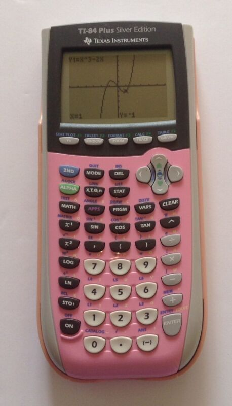 Texas Instruments TI-84 Plus Silver Edition Graphing Calculator Coral Pink Cover