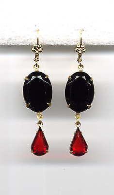 ONYX BLACK RUBY RED cut-crystal Teardrop Earrings 14K Gold gp Vtg Czech Art Deco