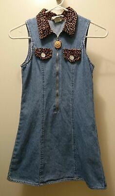 Girls Denim Dress Jumper Zip Front You Babes - Great for Fall - Size M](Denim Dress For Girls)