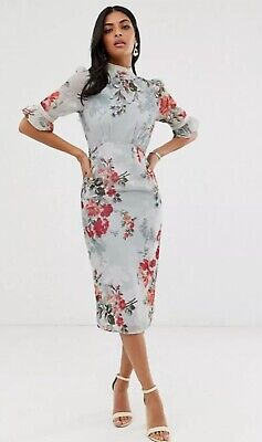 Hope And Ivy _ Fitted Pencil Dress In Blue Floral _ Size 8- Asos