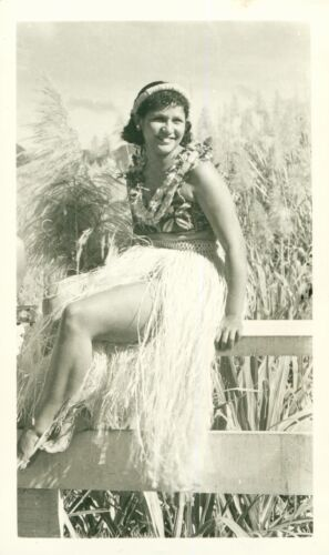 1940  Pretty Hula Girl sitting on sugar cane fence Hawaii photo