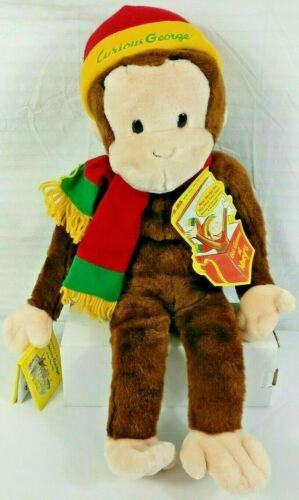 "Curious George Collectible Plush Large Macys Stuffed Toy 24"" with tags & book"