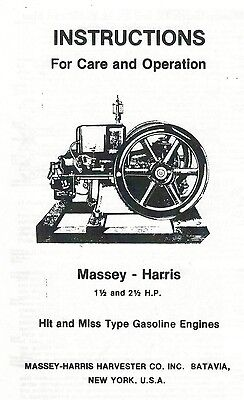 Massey-harris 1 12 And 2 12 Hp Hit Miss Gas Engine Book Parts List Motor