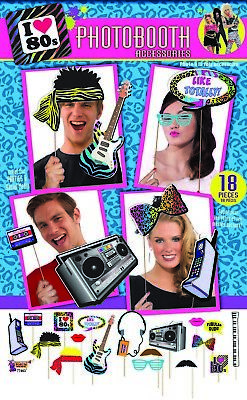 I Love 80s Photo Booth Accessories Set novelty retro party selfie props cool fun](Fun Photo Booth Props)