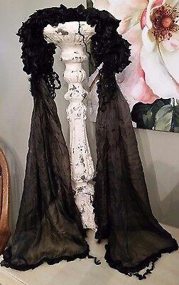 Antique Black Mourning Bonnet & Scarf Ruffled Victorian Edwardian Silk Neck Coll