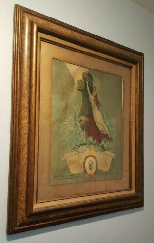 1907 Lithograph In Remembrance ROCK OF AGES Woman Clinging 2 Cross Frame Antique