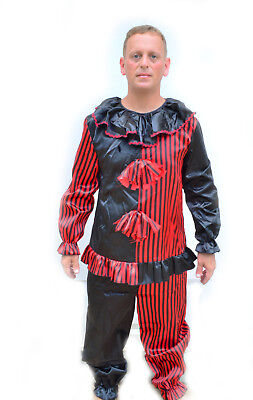 Halloween Black & Red Striped Adult Mens Clown Costume (Black Red Adult Costume)