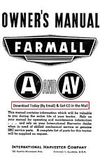 Farmall A & AV Tractor Owners Operators Maintenance Manual