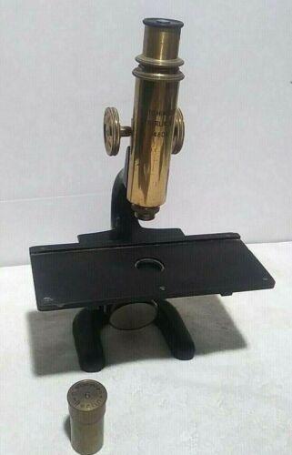 Antique OTTO HIMMLER Berlin N 14809 Monocular Microscope Bronze & Cast Iron