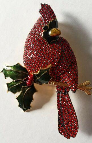 Joan Rivers Red Bird Cardinal Brooch Pin GORGEOUS EUC Signed Original Box
