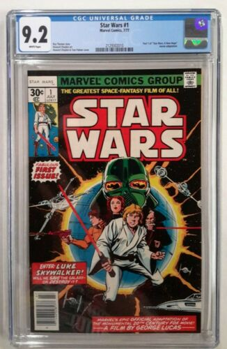 🔥STAR WARS #1 CGC 9.2**1977 MARVEL**1ST PRINT**WHITE PAGES**A NEW HOPE**MOVIE**