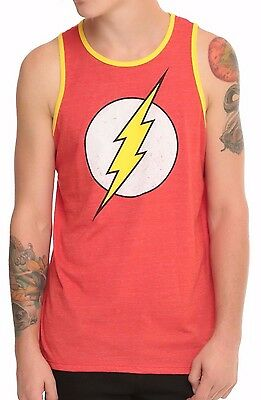 The FLASH Tank Top T-shirt Distressed Logo Vest Mens XXL 2XL Heather Red New  Flash Logo Red T-shirt
